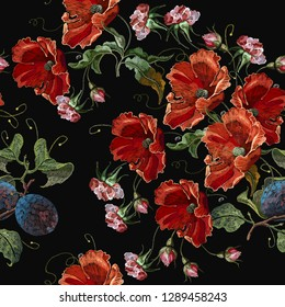 Classical embroidery grapes and red poppies flowers seeamless pattern. Spring template fashionable clothes, t-shirt design tapestry