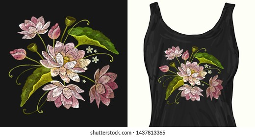 Classical embroidery pink lotuses, water lily. Trendy apparel design. Template for fashionable clothes, modern print for t-shirts, apparel art