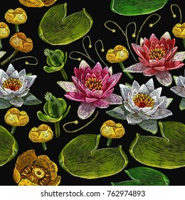 Classical embroidery pink and white lotuses and water lilies, template fashionable seamless pattern clothes, t-shirt design vector. Water lily embroidery seamless pattern