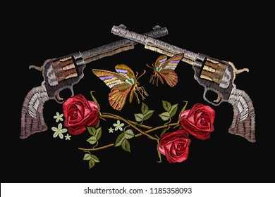 Classical embroidery revolvers and spring roses and tropical butterfly. Symbol of romanticism and crime. Embroidery crossed guns, butterfly and roses. Template for clothes, textiles, t-shirt design