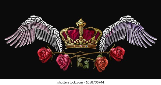 Classical embroidery wings and golden crown and spring roses. Symbol of romanticism and crime. Embroidery crown, wings and roses. Template for clothes, textiles, t-shirt design