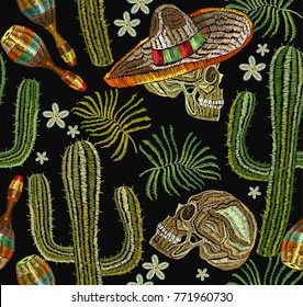 Classical ethnic embroidery skull in sombrero, day of the dead art pattern. Clothes template, t-shirt design. Embroidery mexican culture seamless pattern. Human skull, sombrero, maracas, cactus