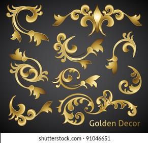 classical golden decor vector elements