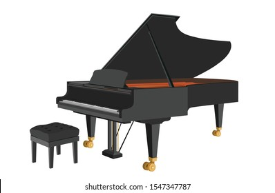 Classical Grand Piano Isolated Vector Illustration