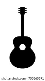 Classical Guitar Silhouette. Vector Illustration Of Hand Drawn Acoustic Guitar Silhouette.