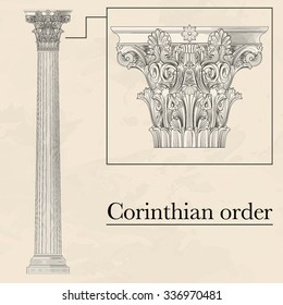 Classical hellenic architectural corinthian style order