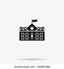 Classical high or elementary school building flat vector icon. College campus illustration isolated on white background.