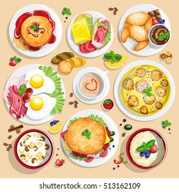 Classical hotel breakfast menu poster with fried eggs bacon and other food realistic pictograms composition top view vector illustration