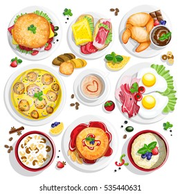Classical hotel breakfast menu poster with fried eggs bacon and other breakfast food realistic composition top view vector illustration