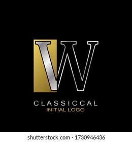 Classical Initial Letter W logo icon, vector design concept rectangle geometric shape with outline letter logo gold and silver color.