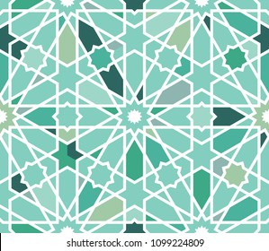Classical Islamic seamless pattern, Moroccan style geometric tiles, hexagonal grid lines, intricate repeat background for web and print