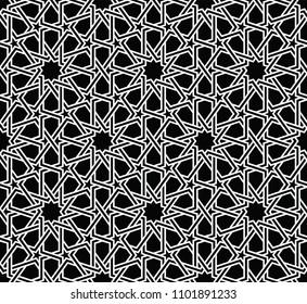 Фотообои Classical Islamic seamless pattern, Moroccan style geometric tiles, hexagonal grid lines, intricate repeat background for web and print