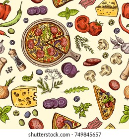 Classical italian food. Pizza and slices with different ingredients. Vector seamless pattern pizza italian with cheese and tomato illustration