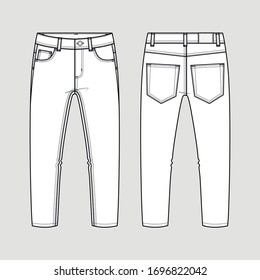 Classical jeans. Technical sketch. Vector illustration.
