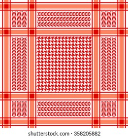 Classical keffiyeh vector pattern with hounds tooth print and floral motif. Traditional Middle Eastern headdress. Red and white. Backgrounds & textures shop.