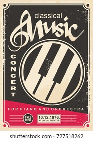 Classical music concert for piano and orchestra retro poster design layout. Vintage flyer advertise for music event.