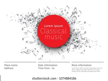 Classical music concert poster template with band name, location