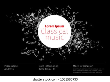 Classical music concert poster template with band name, location - dark version