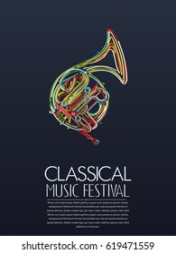 Classical music event poster, vector illustration