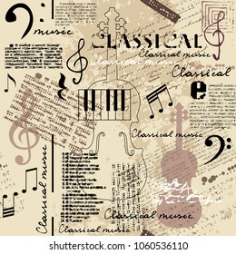 Classical music lpattern with ettering and notes in retro scrapbook style. Seamless background. Vector image.