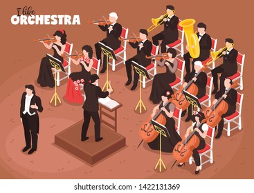 Classical music orchestra isometric composition with singer conductor directing performance violin cello tuba bass players vector illustration
