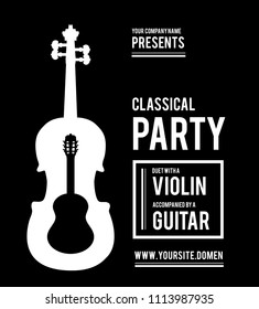 Classical music party. Duet violin and guitar