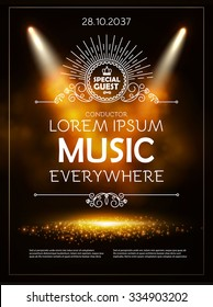 Classical Music Theater Museum Show Poster Template With Elegant Lights Vector Background