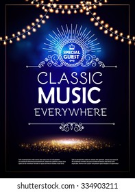 Classical Music, Theater, Museum & Show Poster Template with Elegant Lights. Vector background