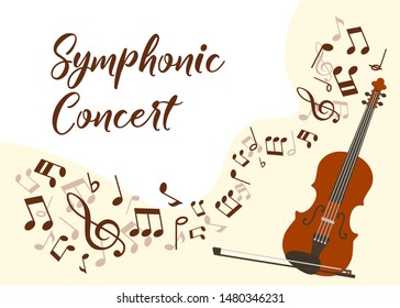 Classical music violin concert vector illustration poster. Symphonic orchestra with violin live concert. Virtuoso performance promo poster with musical notes, typography and violin instrument.