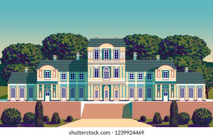 Classical Palace in the Baroque style. Handmade drawing vector. Pop art retro style. Flat design. All objects are grouped and layered. Can be used for posters, banners, postcards, books & etc.