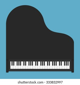 Classical piano in flat style. Top view