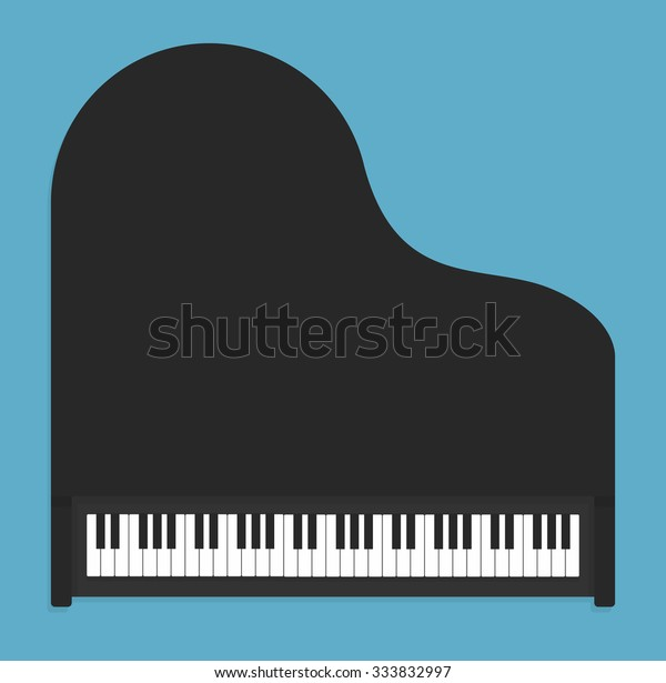Classical Piano Flat Style Top View Stock Vector (Royalty Free