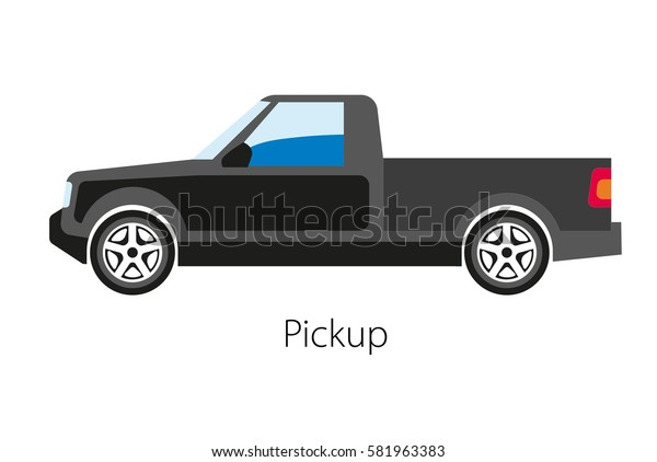 Classical pickup car with cargo tray not integrated with passenger body. Automobile with two doors. Four-wheeled means of transportation in cartoon design. Vector illustration of black auto model