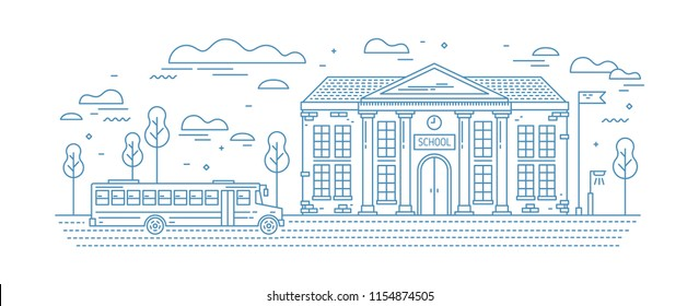 Classical school building with columns and bus for kids or pupil driving on road drawn with contour lines on white background. Educational institution. Monochrome vector illustration in linear style