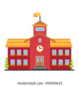 Classical school building illustration on white background
