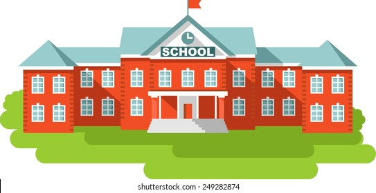 Classical school building isolated on white background