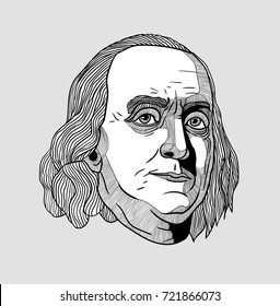 Classical Sculpture. Benjamin Franklin. Vector illustration hand drawn