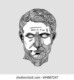 Classical Sculpture. Julius Caesar. Vector illustration hand drawn