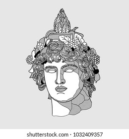 Classical Sculpture. Vector illustration hand drawn. Dionysus or Bacchus.