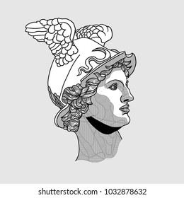 Classical Sculpture. Vector illustration hand drawn. Hermes / Mercury