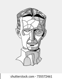 Classical Sculpture. Vector illustration hand drawn. Tesla.