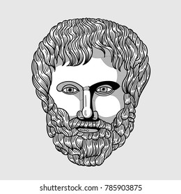 Classical Sculpture. Vector illustration hand drawn. Aristotle
