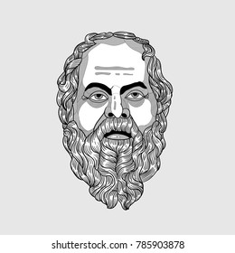 Classical Sculpture. Vector illustration hand drawn. Socrates