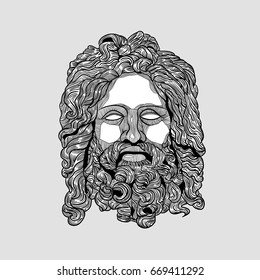 Classical Sculpture. Zeus. Summer style - palm leaf. Vector illustration hand drawn.