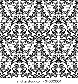 Classical seamless pattern with decoration floral tracery on a white background.