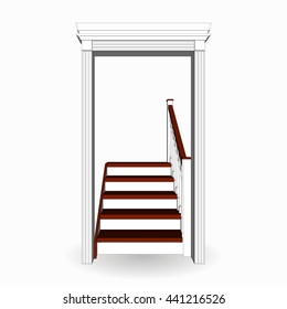 Classical staircase with wooden portal. Ladder with railings front view 3d isolated. Vector illustration on a white background.