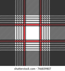 Classical textile print with checkers and stripes.  Trendy fabric design with English and French motifs. Seamless vector pattern with grey, red palette. Template for plaids, shirts, suits, dresses.