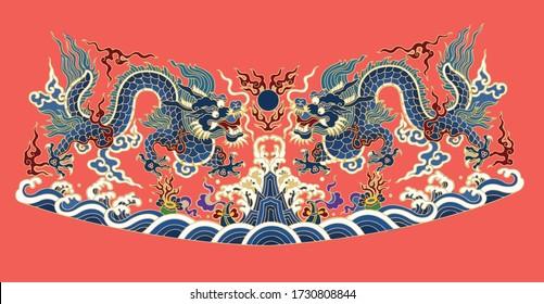 Klassische traditionelle asiatische Kaiserblüten und Meer