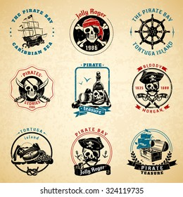 Classical vintage caribbean sea pirate stories symbols emblems old paper printed icons set abstract isolated vector illustration