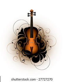 classical violin on a floral background